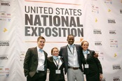 (From left) Upper Iowa University Enactus Chapter president Paul Dupeyrat and team members Gabriel  Wittenberg, Gaetan Berard and Bethani Jacobsen were all smiles after making the chapter's presentation at the recent Enactus United States National Exposition in St. Louis.