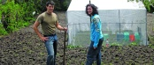 Current Peace Corps field-based recruiter Ryan Cairns '08 (left) is pictured with Peace Corps volunteer Jon Schmidt of Ocean City, Md., while they served in southern Bulgaria. The two volunteers were helping to till a property as the resident prepared to plant a potato crop.
