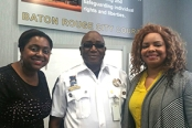 Upper Iowa University-Baton Rouge Center Director Cynthia Bentley (far right) and office manager Amber Jones were on hand to congratulate UIU faculty member Ganiyu Jimoh after he was promoted to captain/chief of operations at the City Constable's Office in Baton Rouge, La.