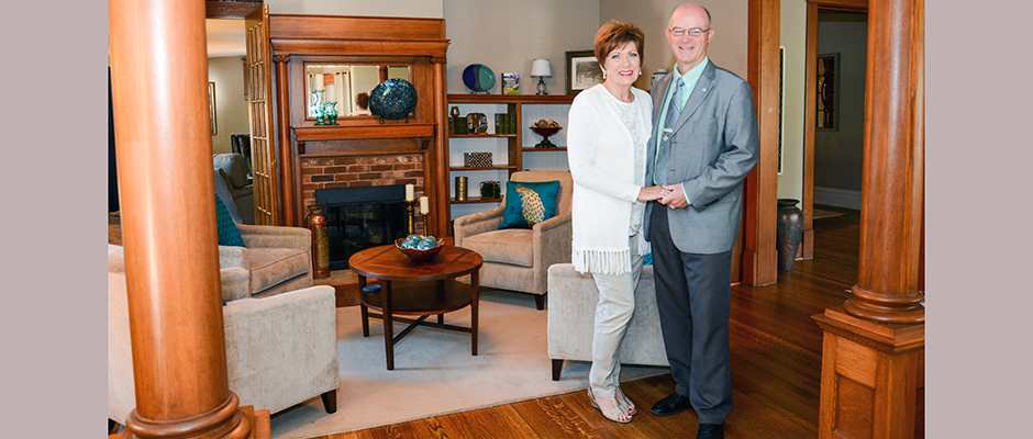 Sharon and President William R. Duffy officially reopened the newly renovated President's Home to the Peacock family during the 2016 Blue Pride Worldwide Homecoming. Homecoming celebration