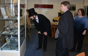 Dr. C.C. Parker (Dr. Richard E. Bleil) and UIU Archivist Janette  Garcia introduced President Lincoln to the C.C. Parker Exhibit at University Archives.